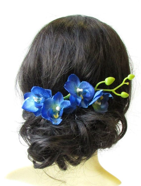 Long Blue Orchid Flower Stem Hair Comb Fascinator Headpiece Rockabilly 50s 1584 Blue Orchid Flower Blue Orchids Flower Hair Comb