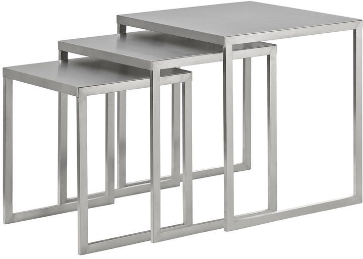 Modway Rail Stainless Steel Nesting Table