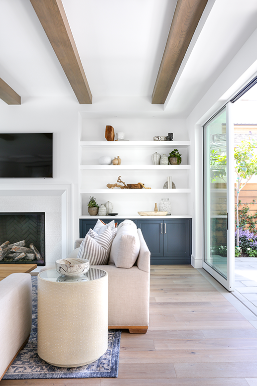 Beam Within Soffit Frame Wish The Soffit Frame Was Even At The Fireplace Wall Though Farm House Living Room Home Decor Interior #white #living #room #with #fireplace