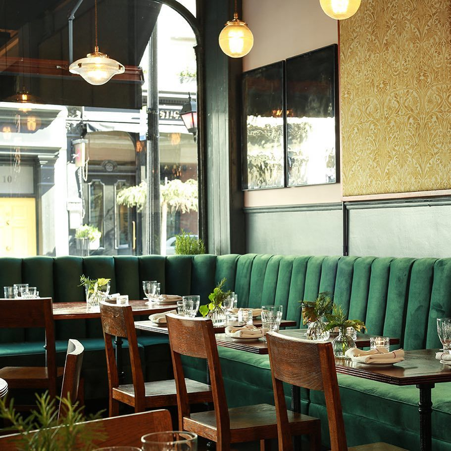 Deep Green Velvet On The Bespoke Banquette Seating At Corapearlcg In Covent Garden Banquette Seating Booth Seating In Kitchen Restaurant Booth Seating