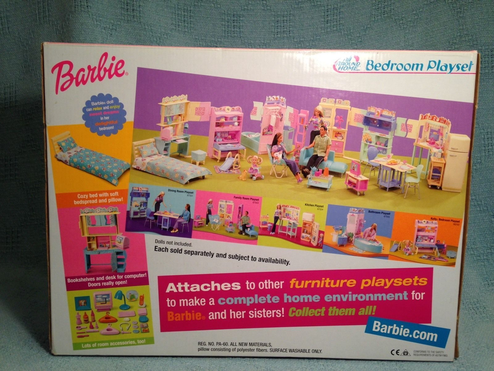 2000 BARBIE ALL AROUND THE HOME BEDROOM PLAYSET PLAY