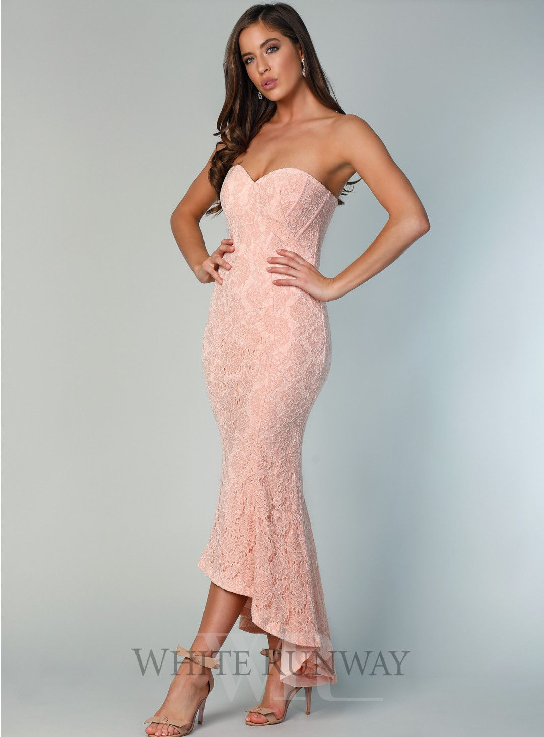 098352898df1 Kate Strapless Chantilly Midi. A beautiful hi-lo dress by Bariano. A  strapless style featuring a sweetheart neckline and soft frill skirt.
