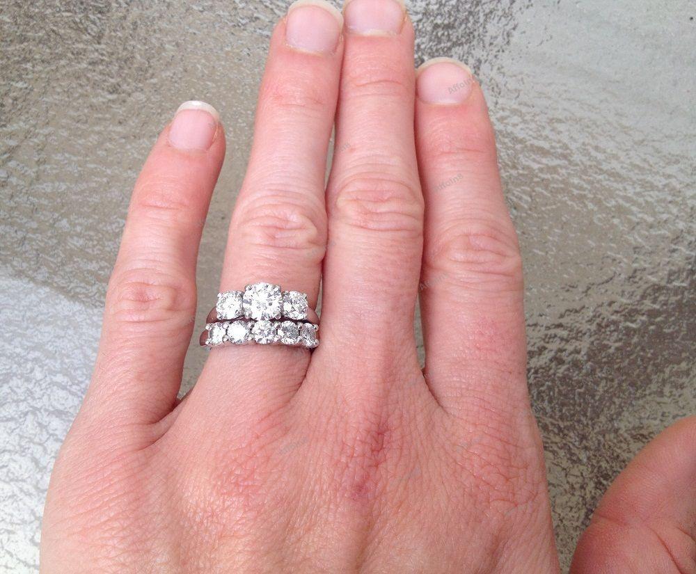 10K White Gold Fn Round Cut Diamond Engagement Ring & Wedding Band ...