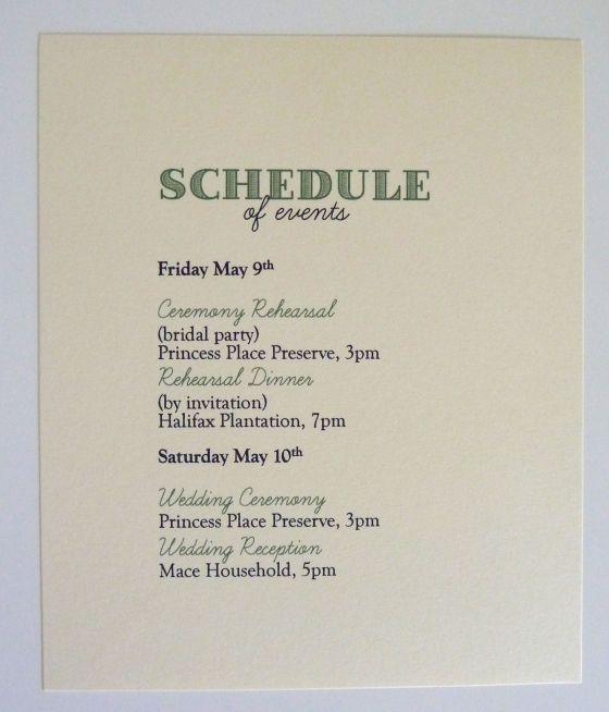 wedding schedule of events   Welcome baskets   Pinterest   Wedding ...