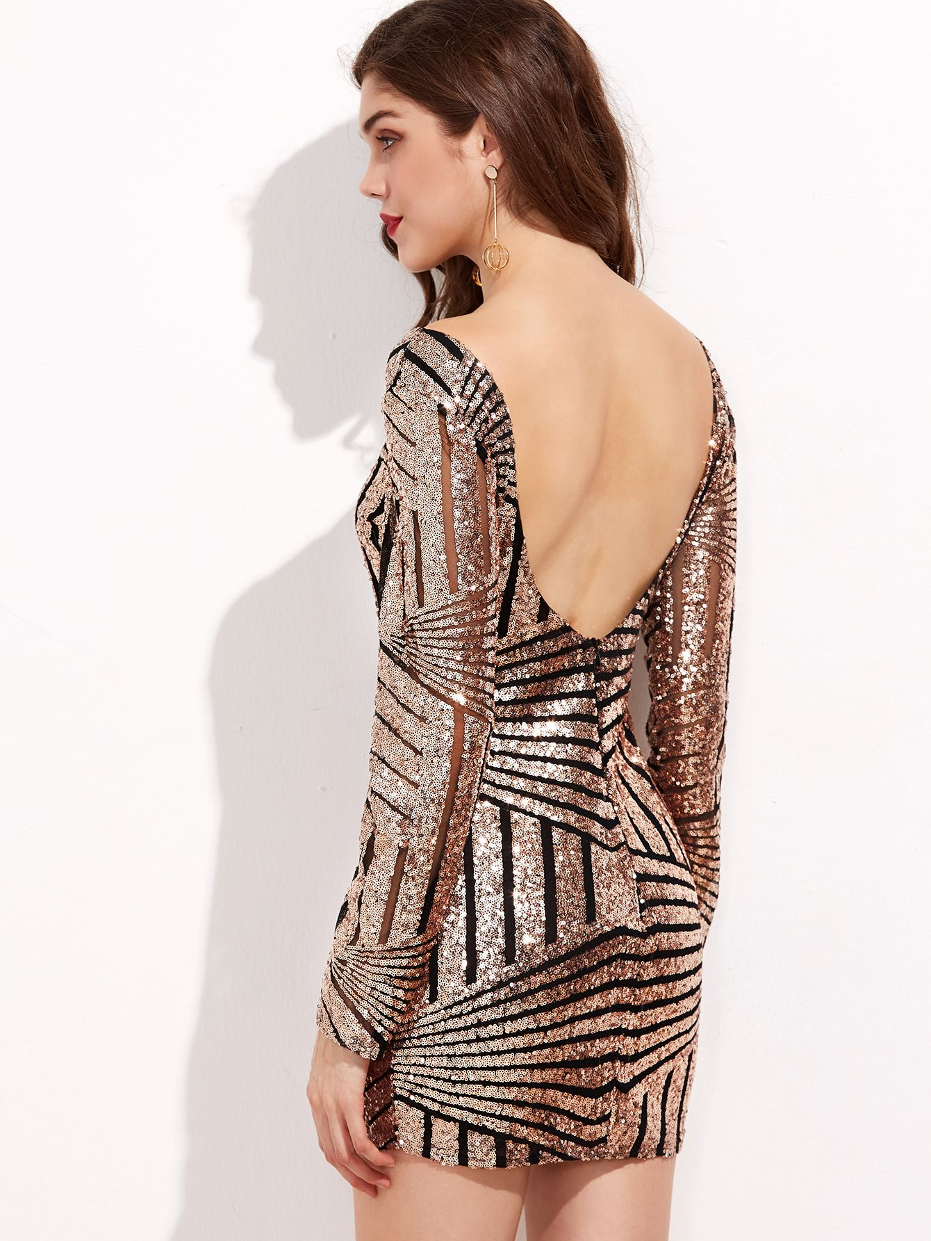 0e8aba4512 Contrast Mesh Open Back Sequin Bodycon Dress