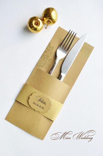 Bestecktasche tischdekoration hochzeit geburtstag von miss wedding auf lm 6 - Tischdekoration goldene hochzeit ...