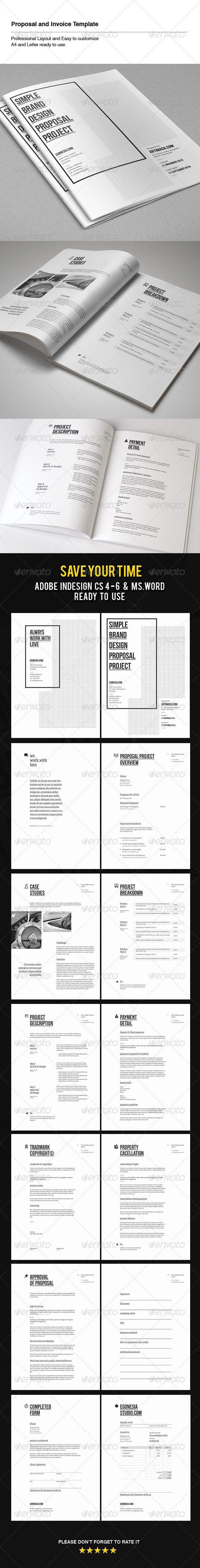 Proposal & Invoice Template | Adobe, Textos y Adobe indesign