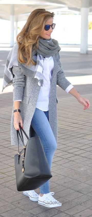 2019-2020 Fall Winter Combos Blue Pants White Sweater Gray Coats