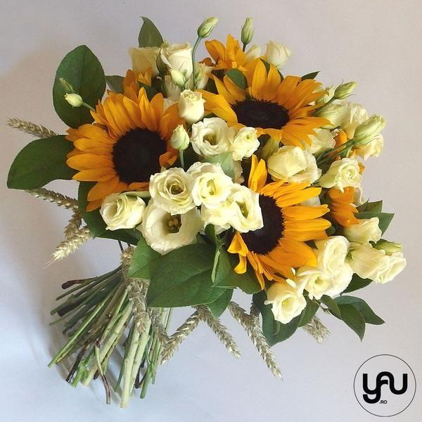 Buchet floarea soarelui si lisianthus _B134