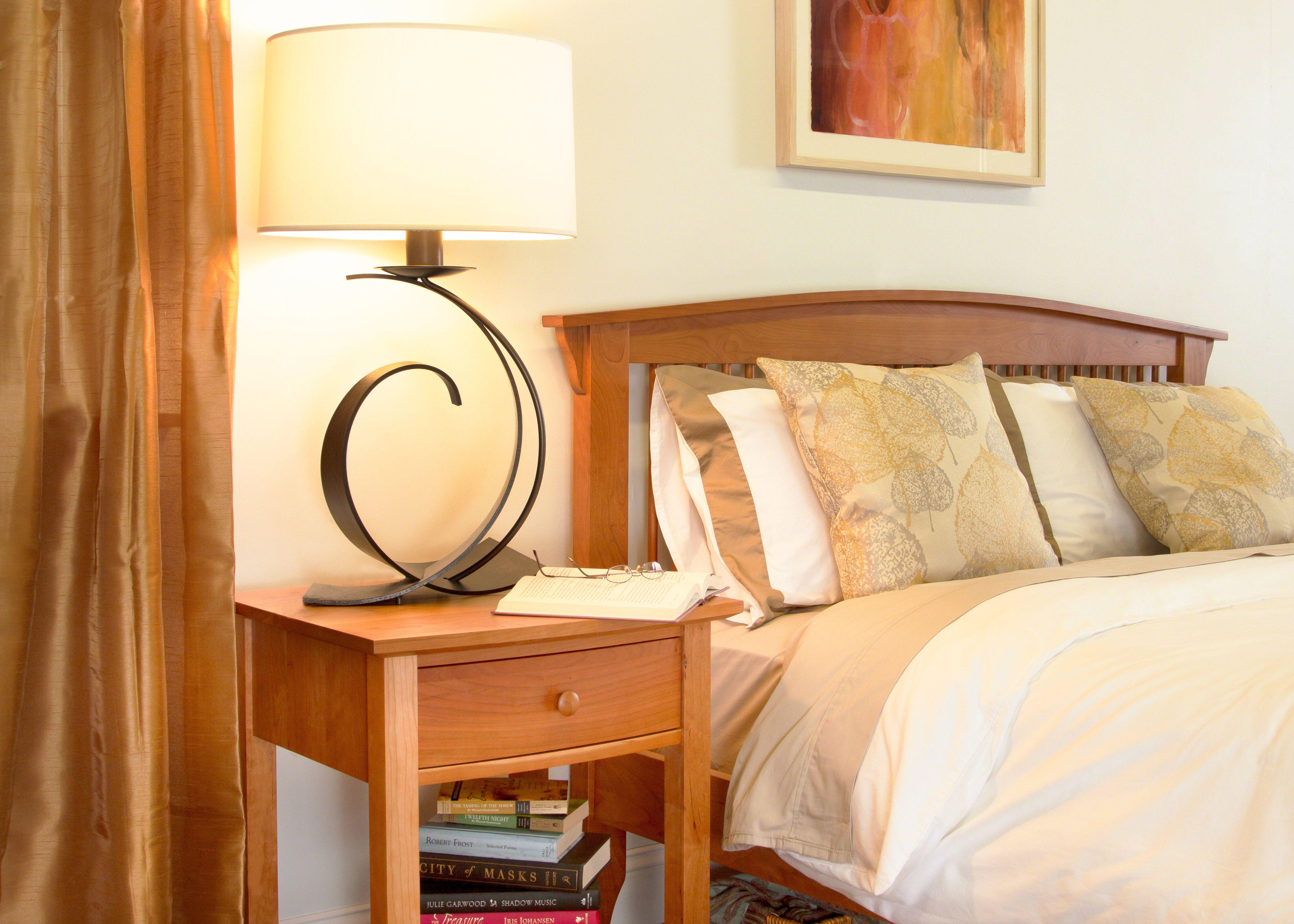 Hardwood Cherry Spindle Bed with Hubbardton Lighting