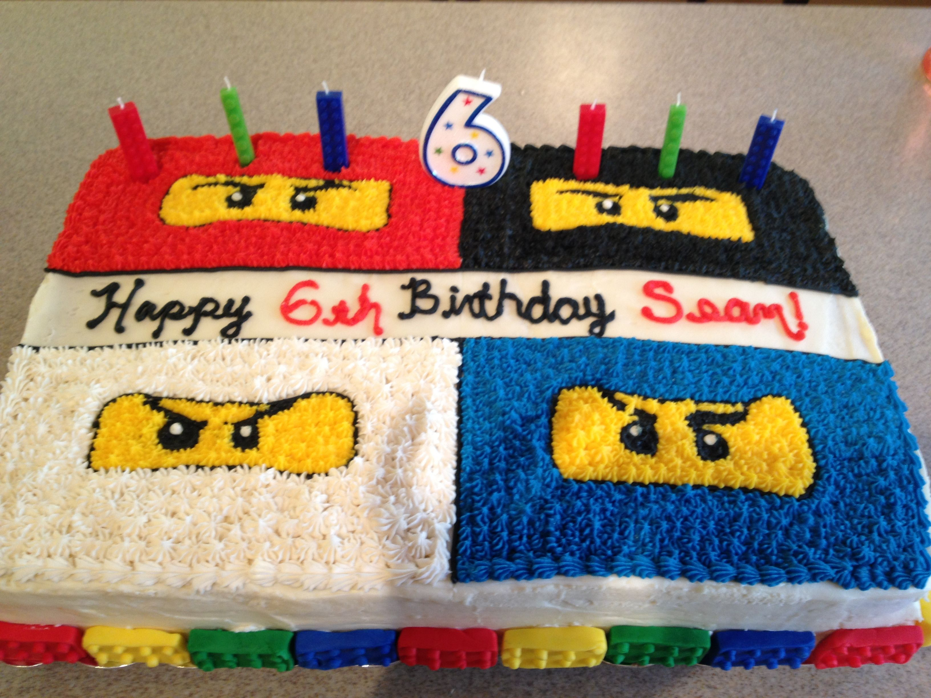 The Cake Design In Buttercream Fondant Legos Around Base Lego