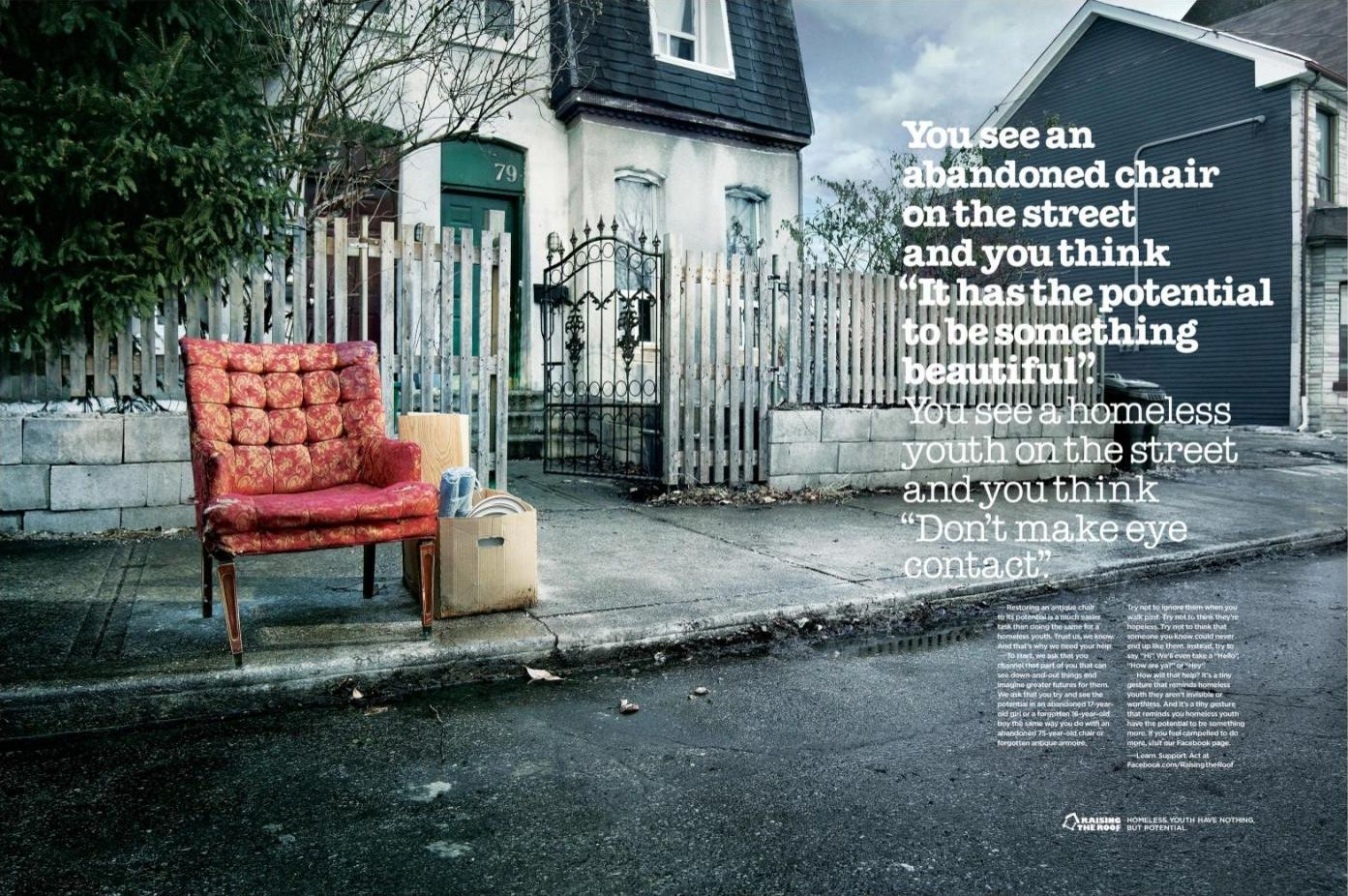 Raising The Roof Chair Canadian Charities Print Ads Creative Advertising
