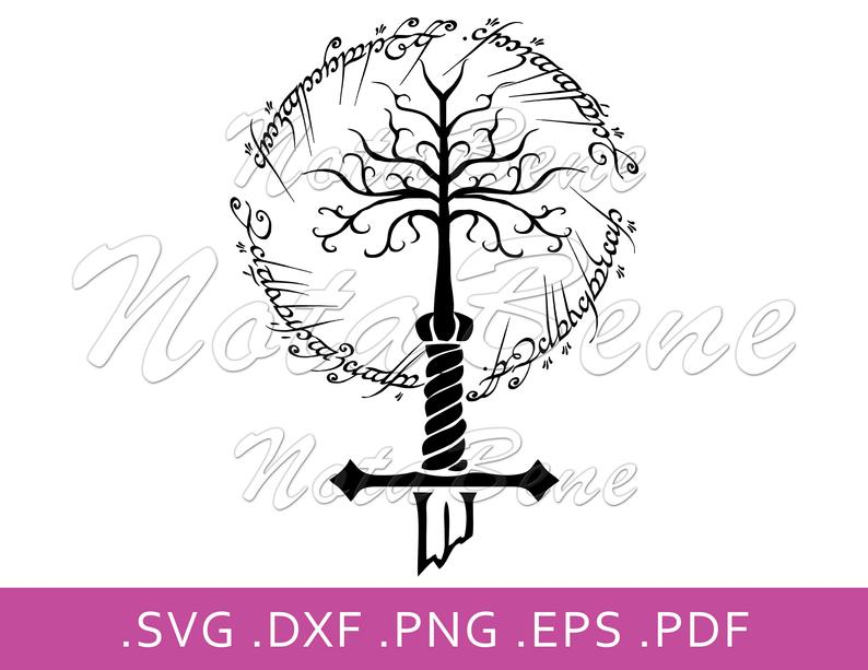 The Lord Of The Rings Logo Svg White Tree Of Gondor Sauron Etsy Ring Logo Silhouette Vector Ring File