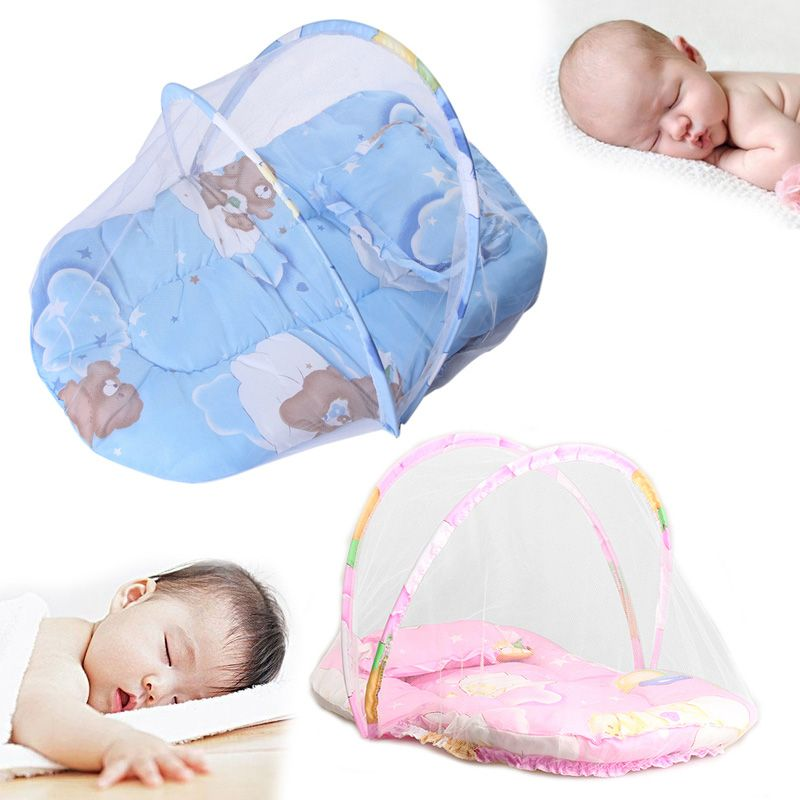 Portable Baby Infants Crib Netting Chinese Mosquito Insect Net Baby Safe Bedding Netting Baby Cushion Mattress With Pillo Cradle Bedding Baby Canopy Baby Cribs