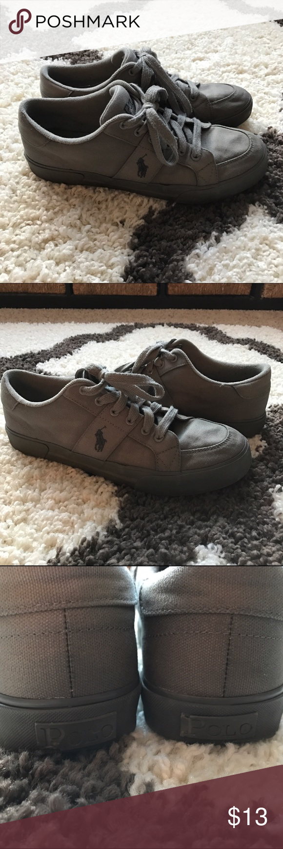"""Polo Ralph Lauren Sneakers All gray sneakers by Polo Ralph Lauren! Normal wear from gentle use, still in good shape! Some chipping on the """"POLO"""" word logo on the heel (as shown in the third picture). Polo by Ralph Lauren Shoes Sneakers"""