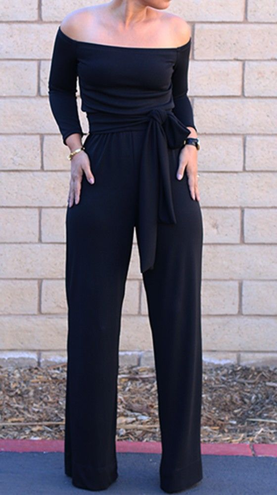 Black Plain Belt Bandeau Off The Shoulder Pleated Flared Leg Fashion Cute Long Sleeve Long Jumpsuit