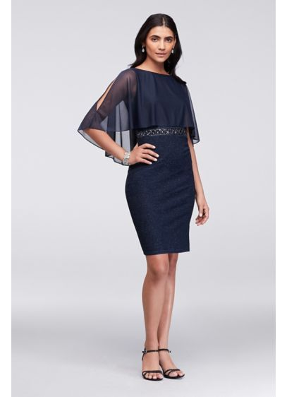 2707dd93857b Short Sheath Capelet Cocktail and Party Dress - Cachet