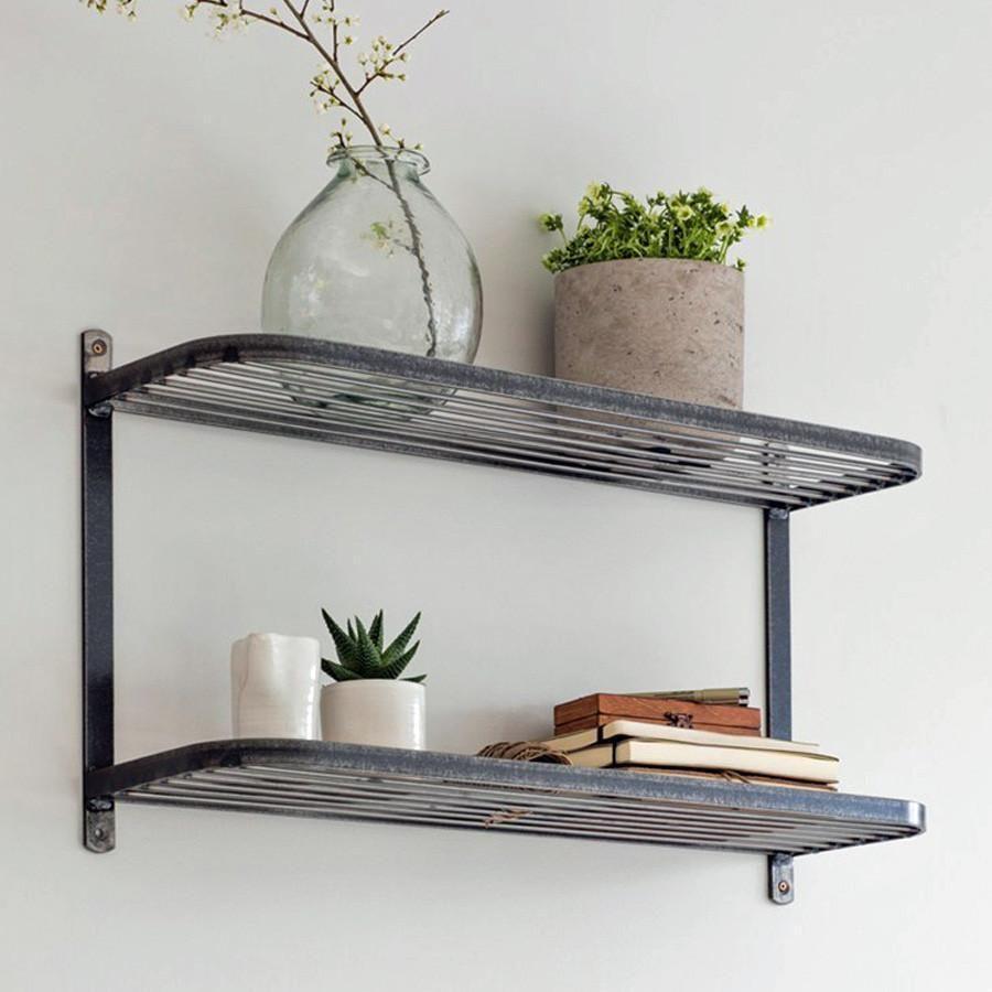 Industrial Steel Double Wall Shelf Wall Shelves Shelves Shelf