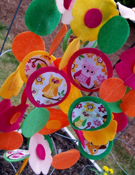 Owls and Flowers Garland with Fabric and Felt by AFeltAffair, $13.00