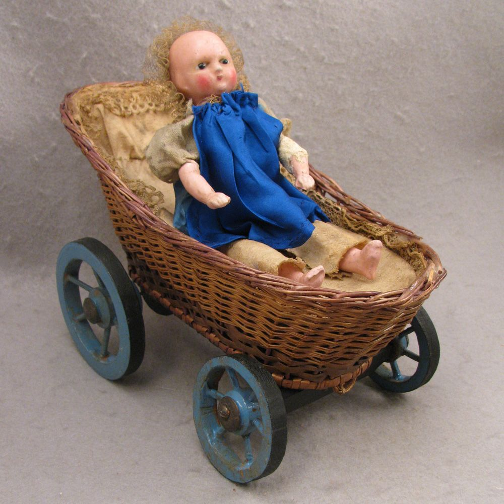 Mid 1800s Wax over Papier Mache Automaton Baby Doll in