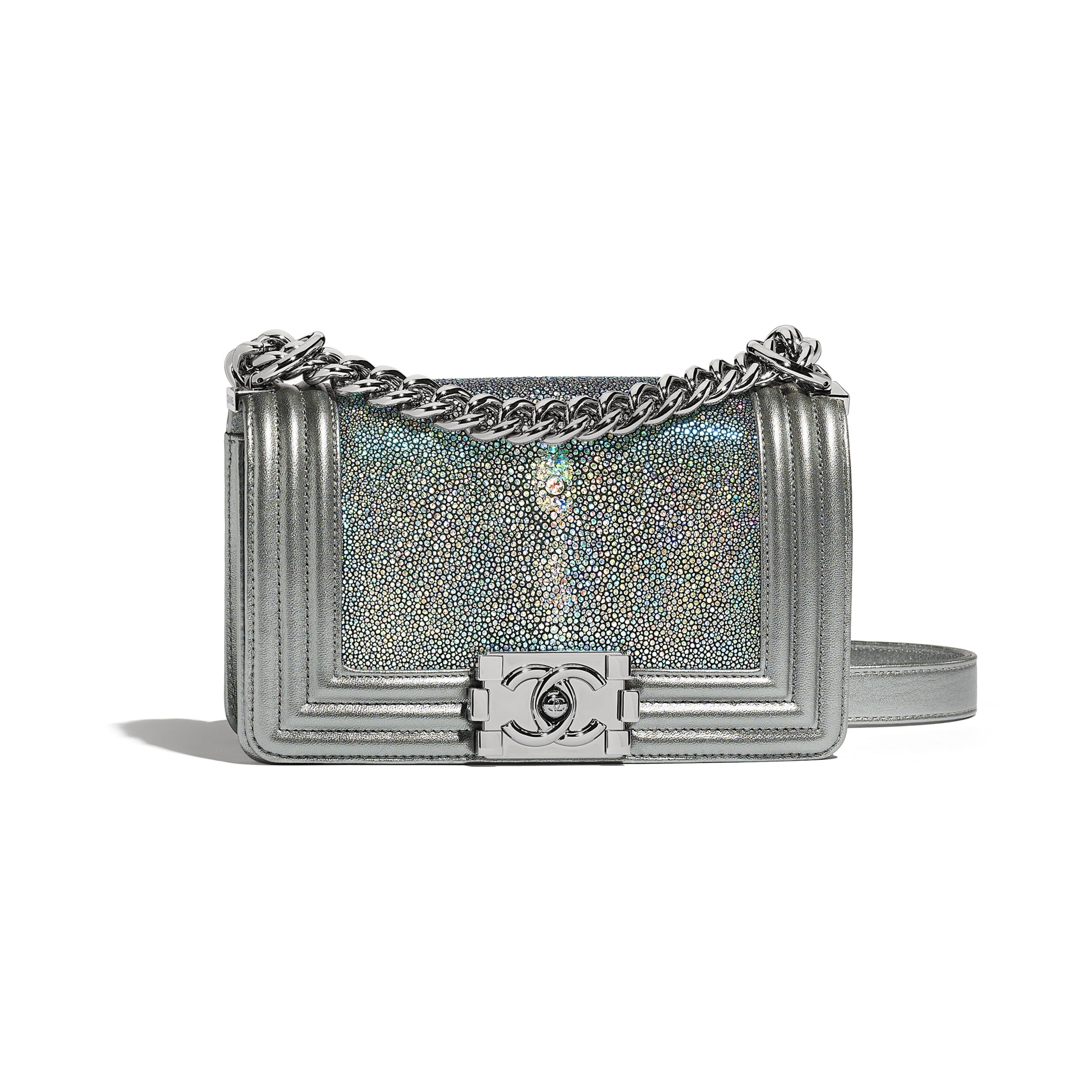e431a2dbb5353e Small BOY CHANEL Handbag - Silver - Galuchat, Metallic Lambskin &  Ruthenium-Finish Metal - Default view - see standard sized version