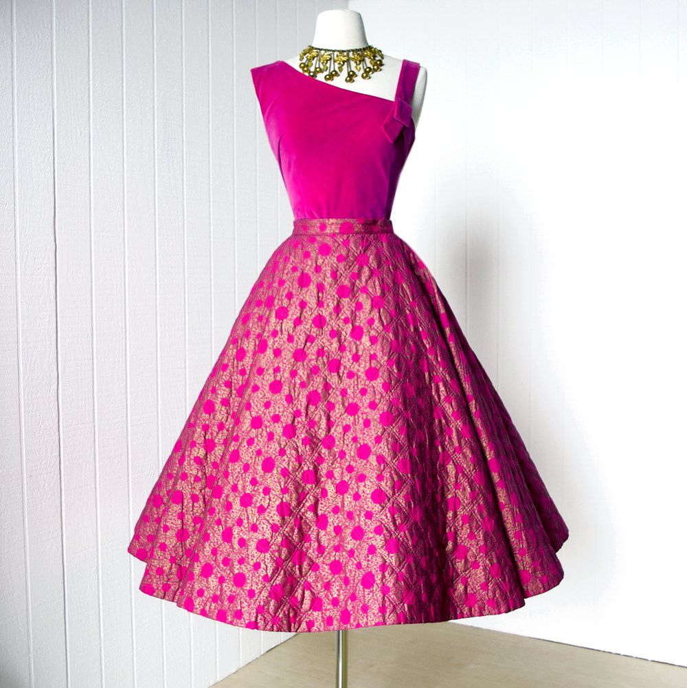 vintage 1950\'s dress ...gorgeous ALEX COLMAN pink and gold screened ...