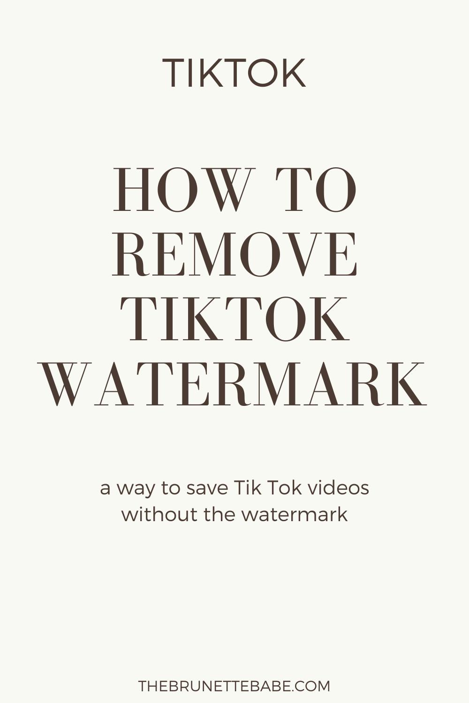 Remove Tiktok Watermark On Videos How To Remove Blog Tips Watermark