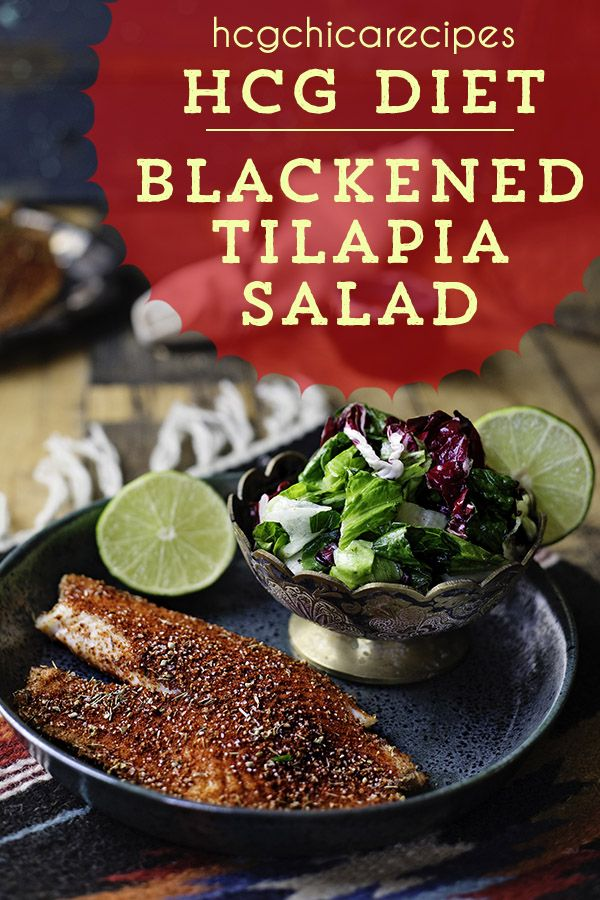 hCG Blackened Tilapia Salad w/ Herbs & Lettuce | 127 calorie hCG Recipe for 500-calorie Diet | SP #protiendiet