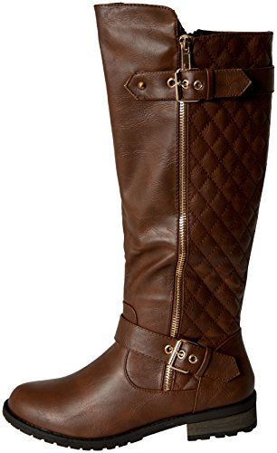 Forever Link Women's MANGO-21 Quilted Zipper Accent Riding Boots ... : quilted back boots - Adamdwight.com