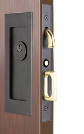 Keyed Set Modern Emtek Heavy Duty Pocket Door Mortise Lock Set