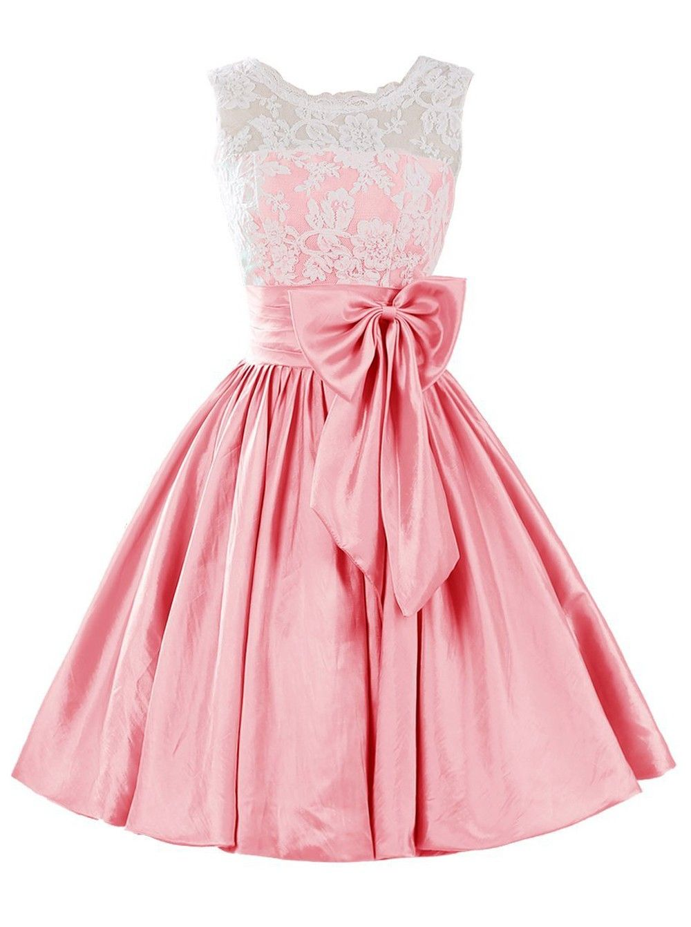 Cute A-line Scoop Short Pink Satin Homecoming Dress With Bowknot ...