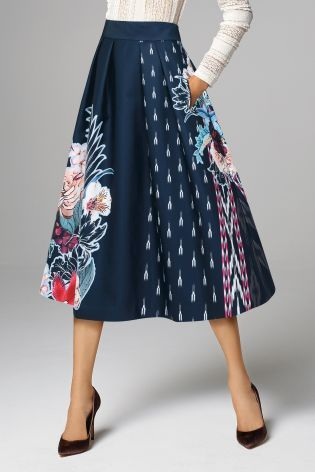 Buy Navy Floral Full Skirt online today at Next: United States of ...