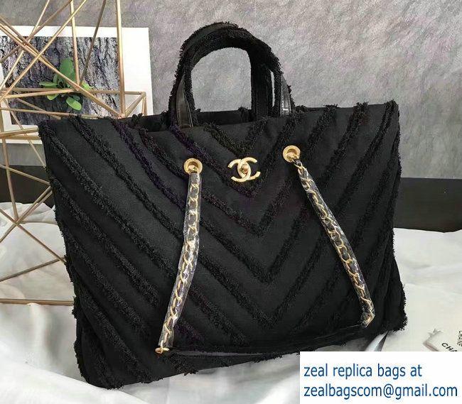 fc287141f3c3 Chanel Canvas Chevron Patchwork Large Shopping Bag A93715 Black 2017 ...