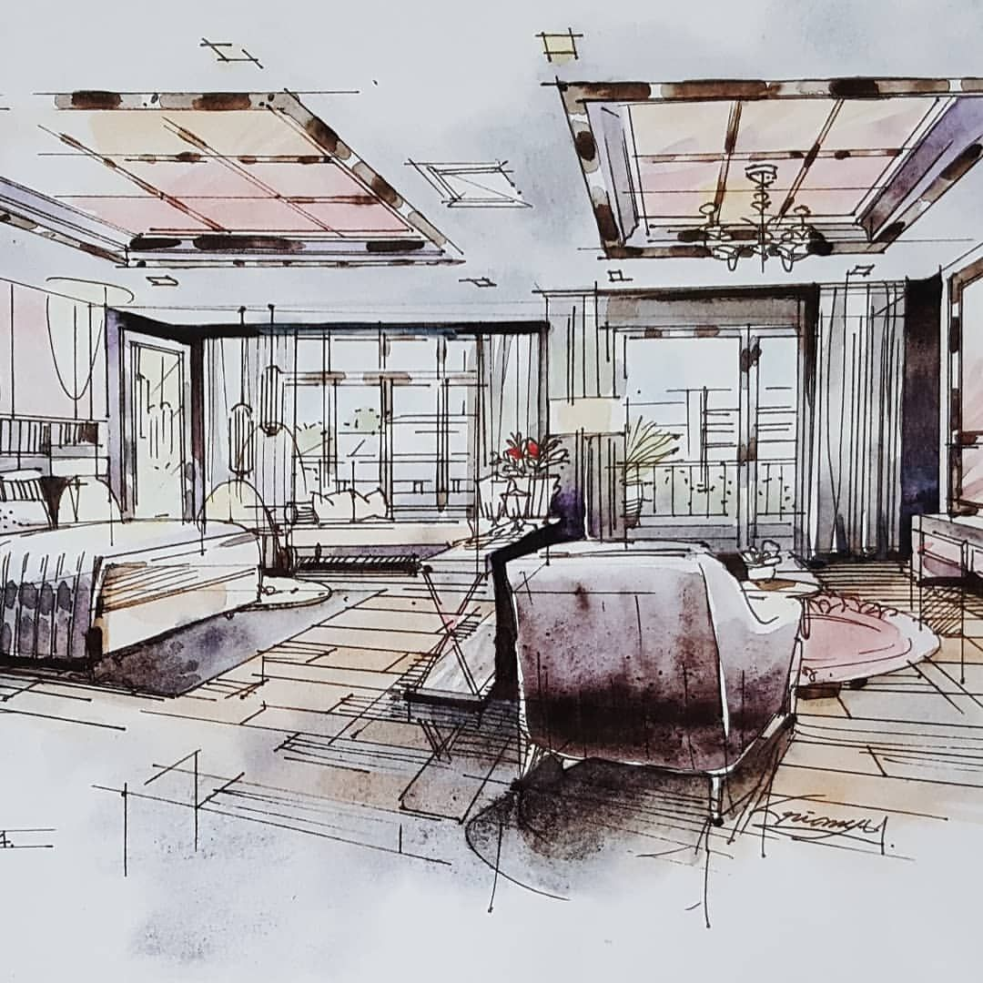 perspective bedroom livingroom watercolor interior architecture pinterest zeichnen. Black Bedroom Furniture Sets. Home Design Ideas