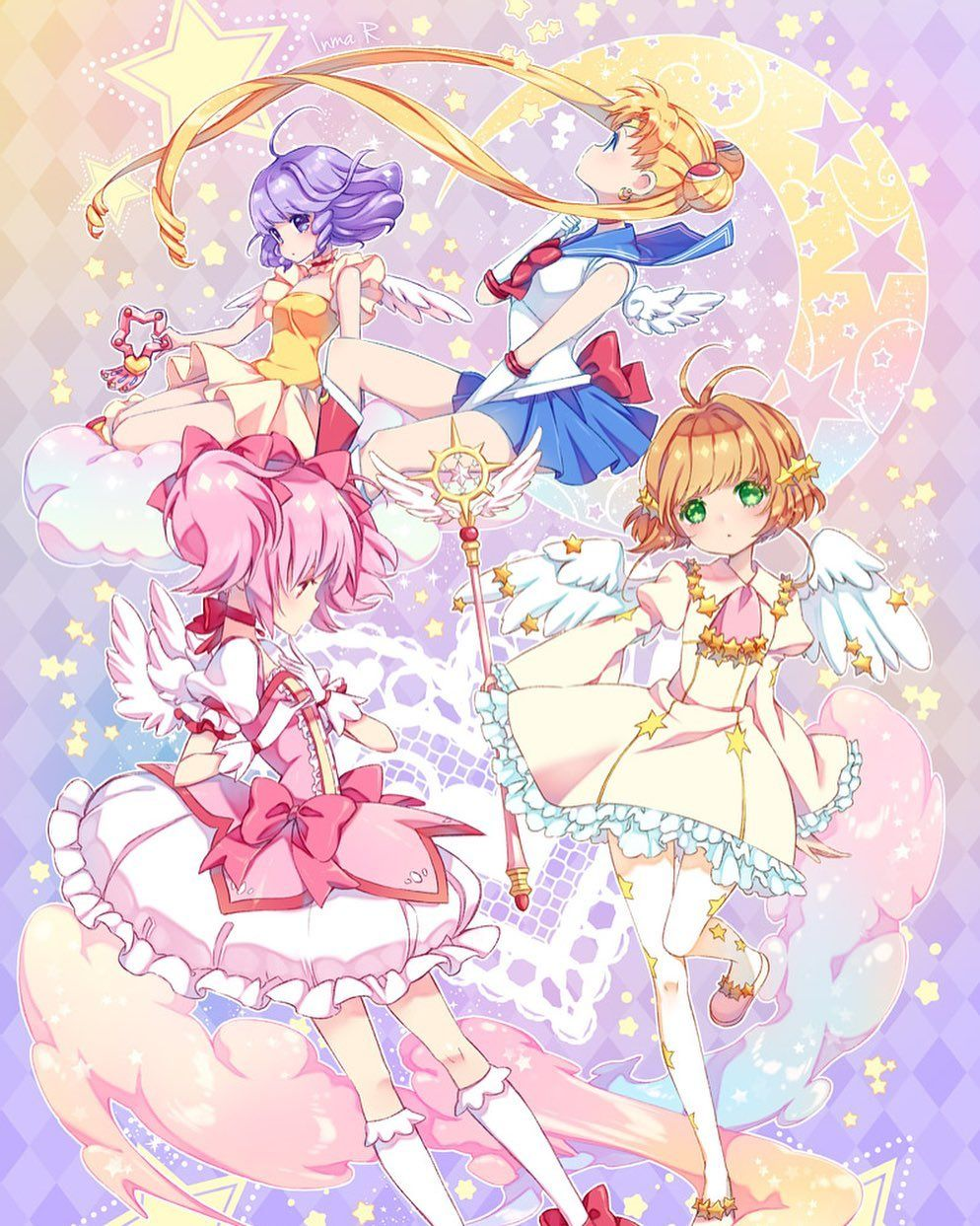 Magical Girl Fan Club On Instagram Magical Girls Unite I Love When Artists Combine Different Series Together A Magical Girl Anime Magical Girl Anime Images