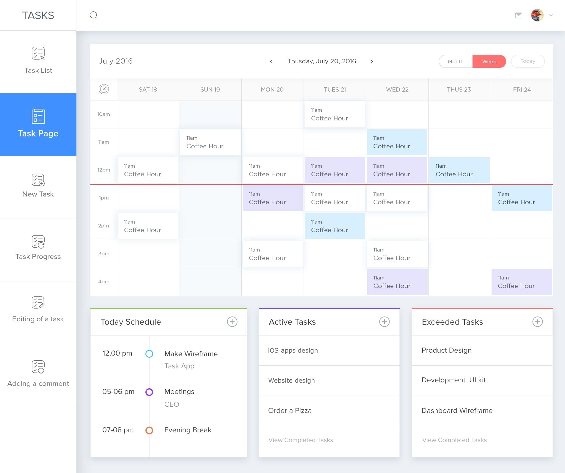 Calendar Ui Design Inspiration : Dashboard design task page feedback screen psd app