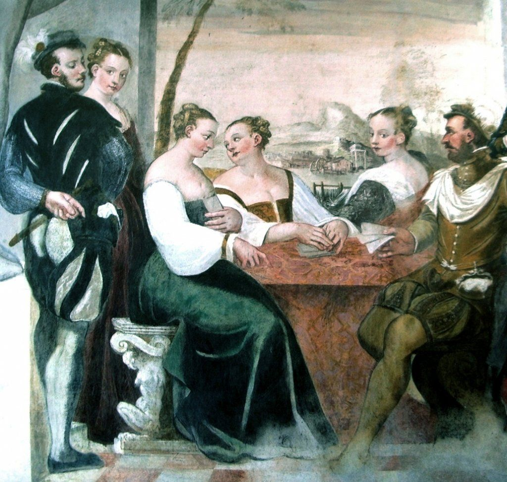 Frescoes from Villa Caldogno,showing people banqueting, playing cards and instruments, by Giovanni Antonio Fasolo, c. 1570