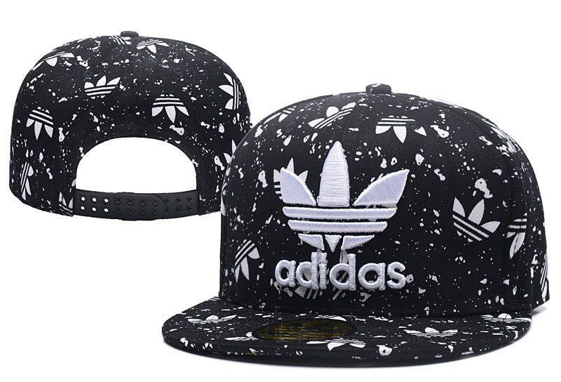 Men's Adidas Original Trefoil 3D Logo Embroidery Splash Snapback Hat - Black / White
