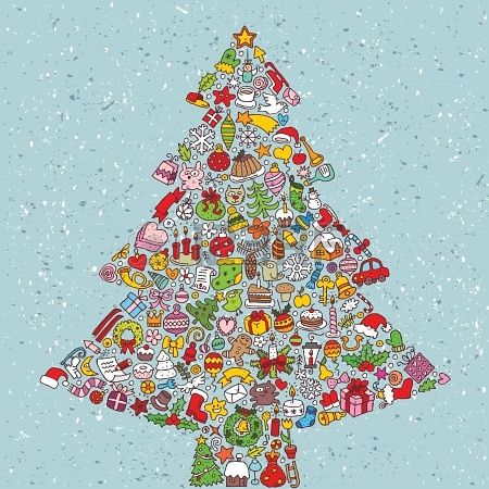 Stock Vector Square Card Christmas Icons Christmas Vectors