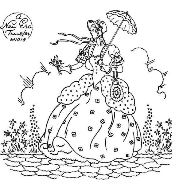 Crinoline Lady embroidery transfer NE1018 by craftycharlie on Etsy