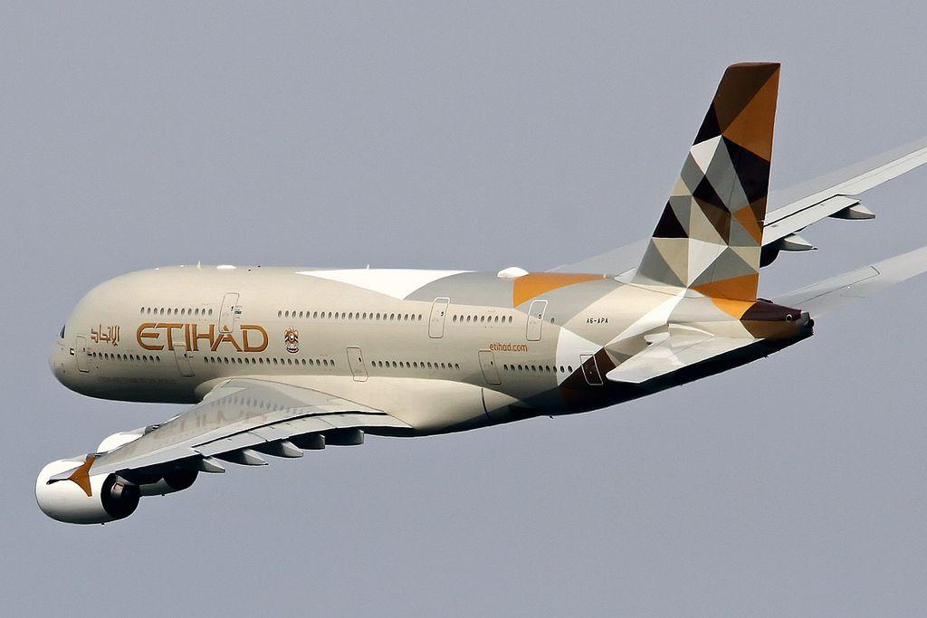 Etihad a380 departing heathrow aviation aeroplane