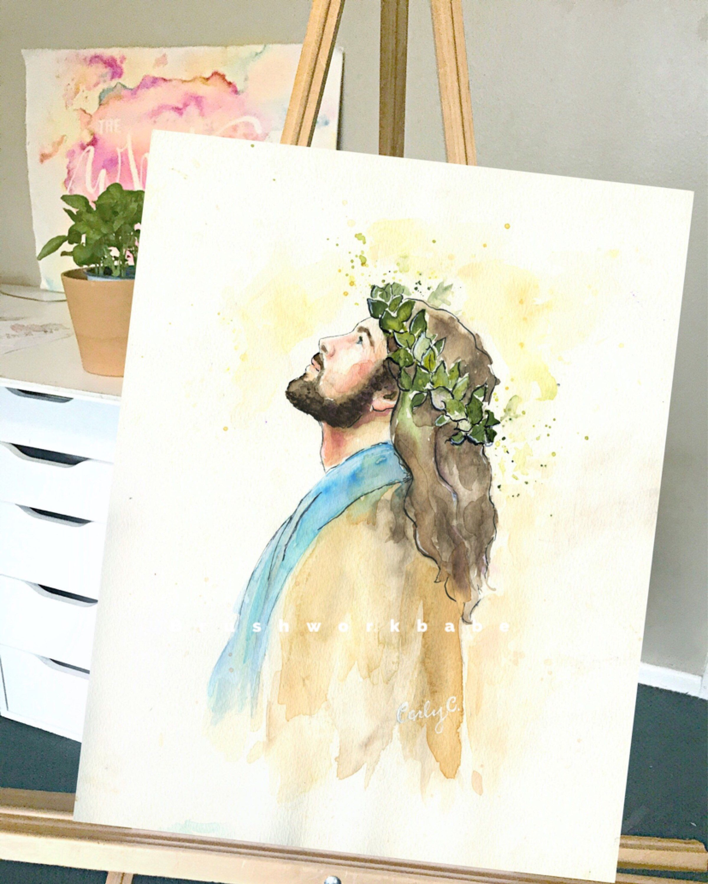 Crowned With Glory Watercolor Christ Christmas Brushworkbabe