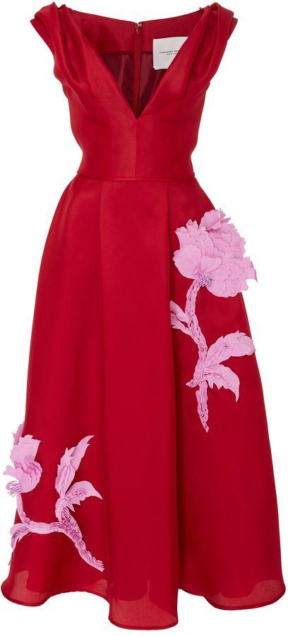 V-Neck Embroidered Cocktail Dress Carolina Herrera 5C71X6bZp