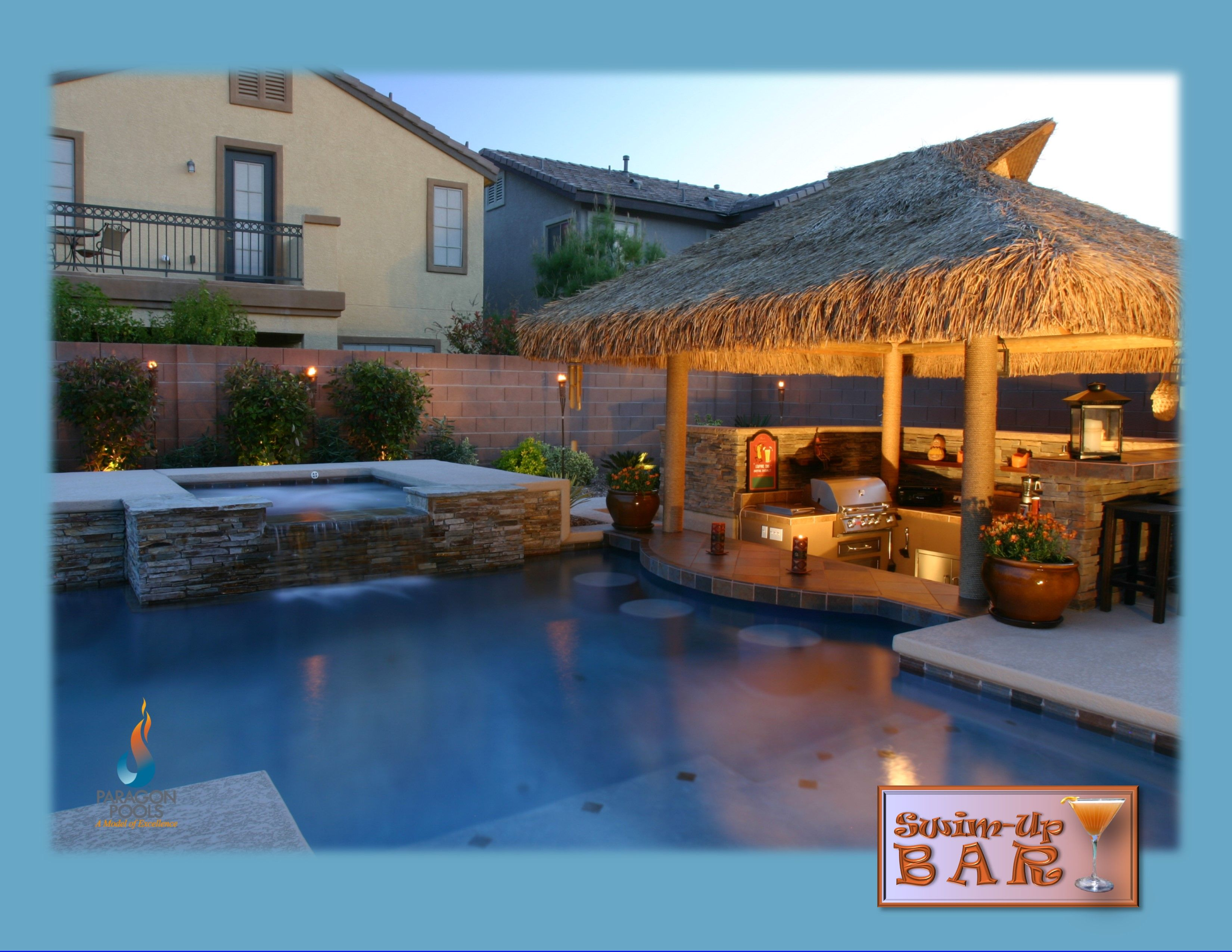 Palapa Covered Sunken Outdoor Kitchen With A 3 Stool Swim Up Bar Outdoor Kitchen Design Layout Outdoor Kitchen Ideas Awesome Outdoor Kitchen Design