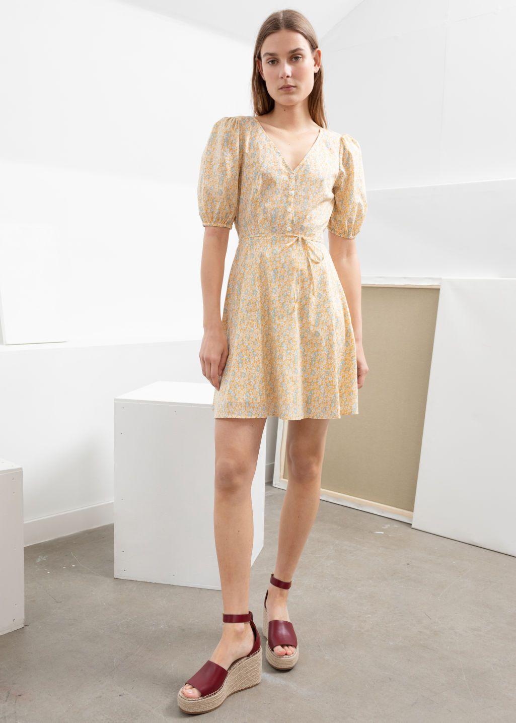 Puff Sleeve Mini Dress Yellow Floral Mini Dresses Other Stories Mini Dress Mini Dress With Sleeves Floral Mini Dress