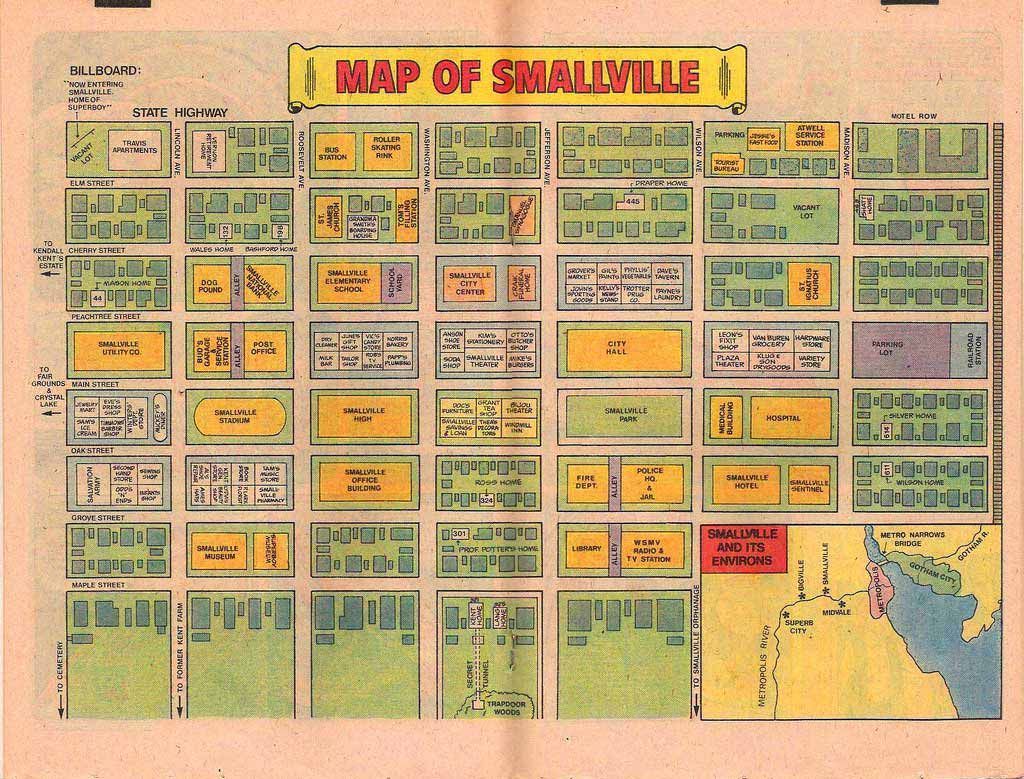 Fictional map of DC Comics Smallville, from silver or bronze age ...