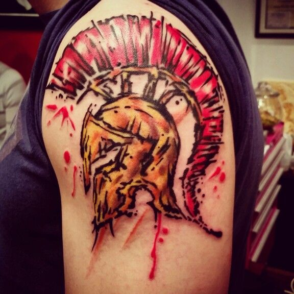 Image result for Spartan tattoo watercolor