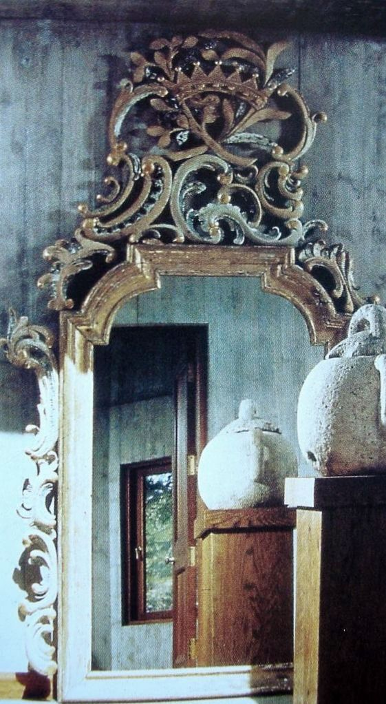 Esschert Design WD13 Mirror Louvre Distressed Blue Finish