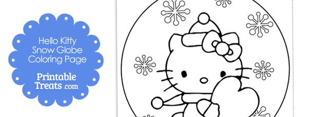 Free Hello Kitty Snow Globe Winter Coloring Page 610x229 Jpg