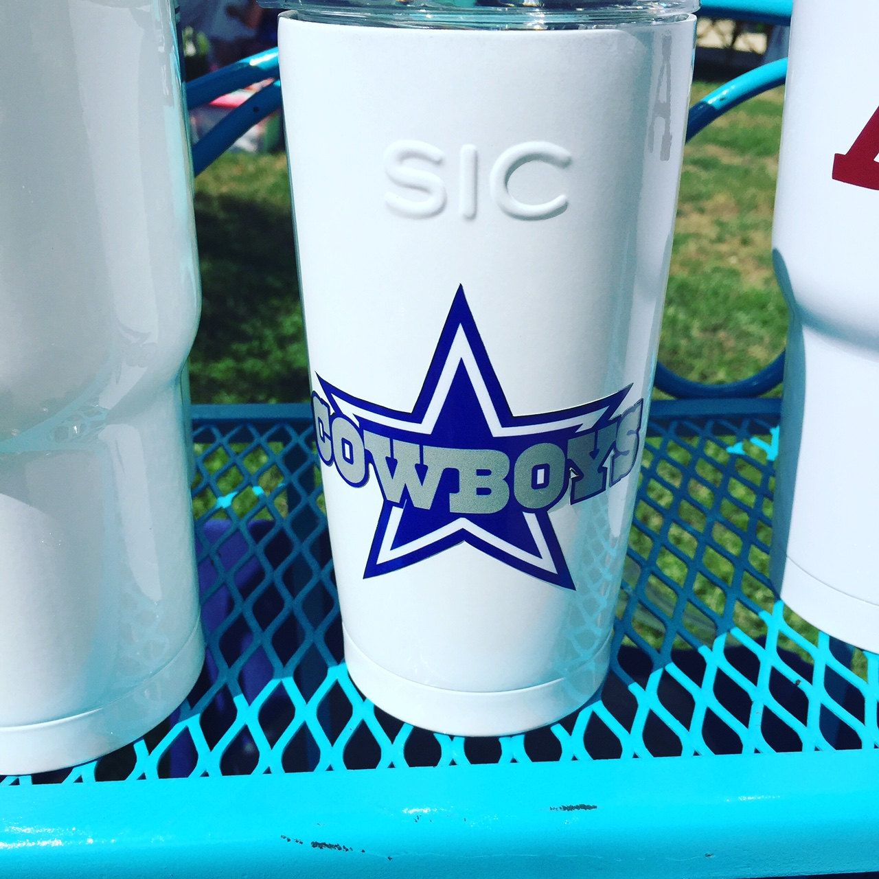 Dallas Cowboys Dak PrescottSIC CupsTumblersoz Powder Coated - Custom vinyl decals for cups
